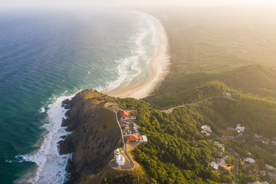 Aerial view of Cape Byron Lighthouse during the sunset, Australia.