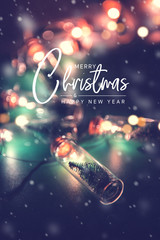 Merry Christmas and happy new year concept, Close up, Elegant Christmas tree in glass jar...