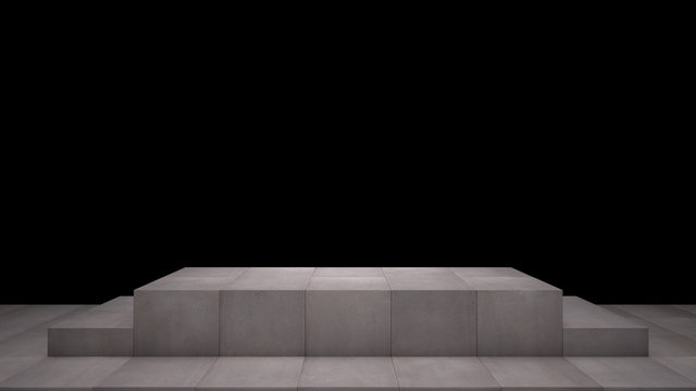 Stone Base Pedestal with Concrete Floor Isolated on Black Background