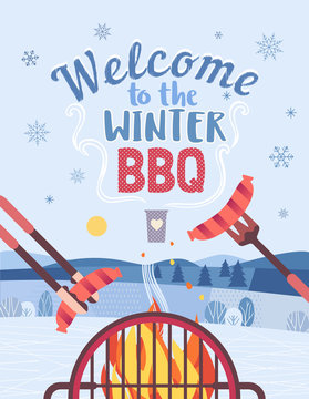 Winter BBQ welcome invitation vector poster