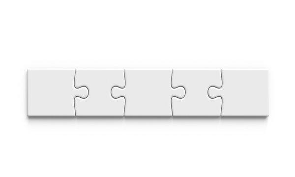 Simple puzzle mockup. 5 pieces. 3d illustration