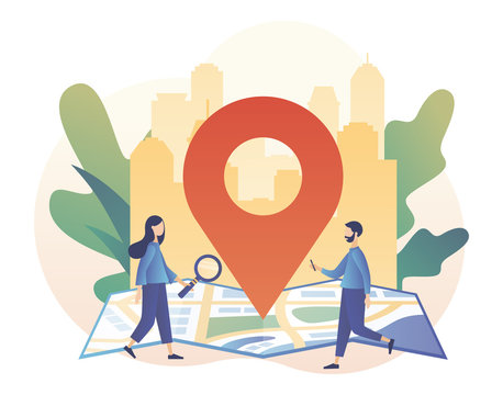GPS navigation concept. Tiny girl search for location on smartphone. Online map. We have moved. Modern flat cartoon style. Vector illustration