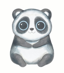 Kawaii cartoon cute panda bear with big eyes isolated on white background. Watercolor hand drawn illustration