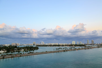 Miami town from fort lauderdale port in Miami, FL, USA