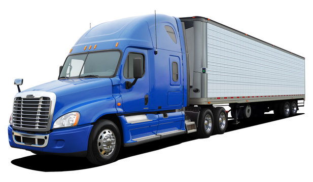 Big truck Freightliner Cascadia with blue cab Isolated on a white background.