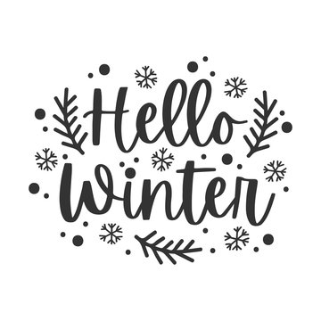 Hello winter black hand written lettering phrase