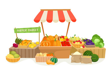 Vegetable fruit local farmer market in cartoon style