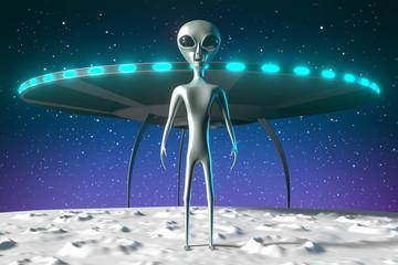 Aliens, extraterrestrials, spaceship - 3D rendering