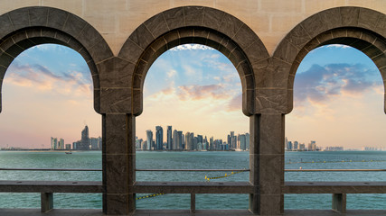 Doha skyline through as seen from Museum of Islamic art, Doha, Qatar