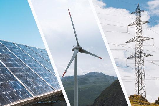 Erneuerbare Energie Infrastruktur Collage