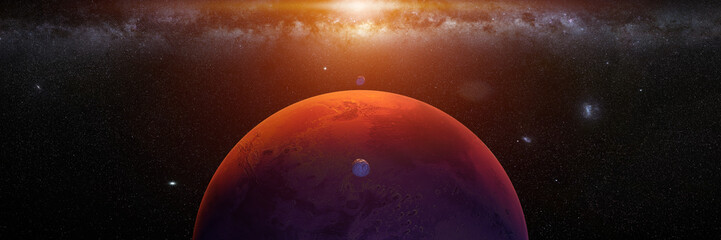 planet Mars with monns Phobos and Deimos, sunrise on the red planet Fotomurales