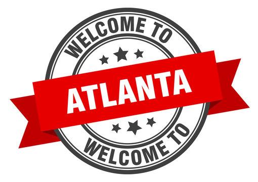 Atlanta stamp. welcome to Atlanta red sign