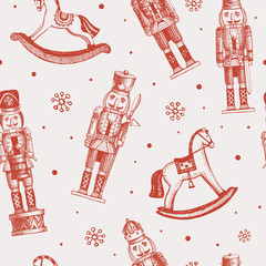 Seamless pattern with soldiers nutcrackers and rocking horses. New Year picture. It can be used to decorate holiday packages, wrapping paper, textiles. Vector illustration in engraving style.