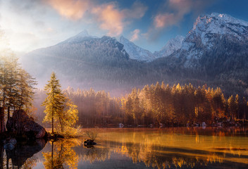 Fotomurales - Wonderful Colorful Sunset at Hintersee Lake in Bavarian Alps. Awesome Alpine Highlands during sunrise. Amazing Autumn Natural Background. Incredible Nature Landscape. Beautiful locations of the World.