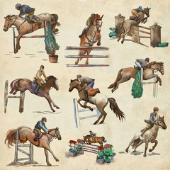 Horses - show jumping. Colored collection, pack of freehand sketches. Line art on paper.