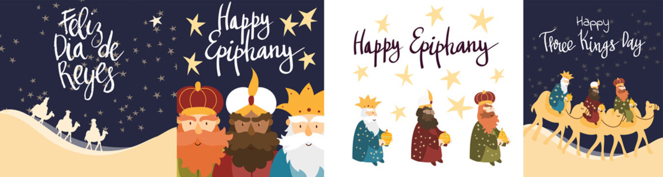 Vector illustration cards template set for Epiphany celebration. Cute cartoon character of three wise men. Caption translation: Happy Three Kings Day