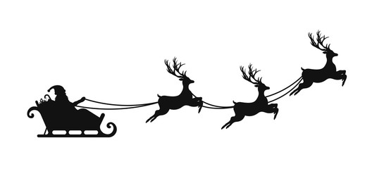 Santa Claus is flying in sleigh with Christmas reindeer. Silhouette of Santa Claus, sleigh with Christmas presents and reindeer Wall mural
