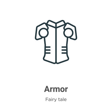 Armor outline vector icon. Thin line black armor icon, flat vector simple element illustration from editable fairy tale concept isolated on white background