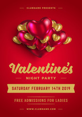 Valentines day party flyer or poster design template invitation or greeting card vector illustration