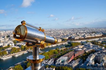 Türaufkleber Paris Binocular on Eiffel tower observation deck