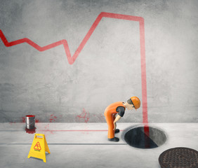 Workers paint the business cycle on the wall -3D-Illustration