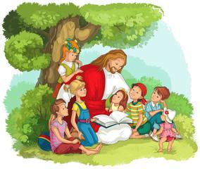 Jesus reading the Bible with Children. Vector cartoon christian illustration