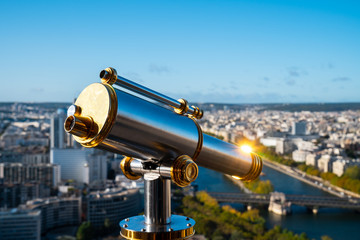 Binocular with sunflare on Eiffel tower observation deck