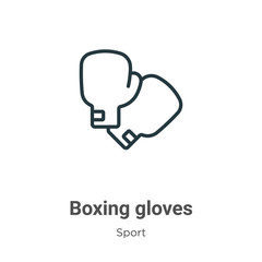 Boxing gloves outline vector icon. Thin line black boxing gloves icon, flat vector simple element illustration from editable sport concept isolated on white background