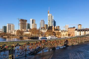 Frankfurt am Main, Eiserner Steg, Bridge with Love-Padlocks, Germany