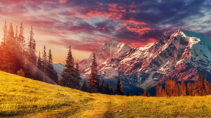 Photo sur Toile Morning Glory Awesome alpine highlands in sunny day. Scenic image of fairy-tale Landscape with colorful sky under sunlit, over the Majestic Rock Mountains. Wild area. Megical Natural Background. Creative image