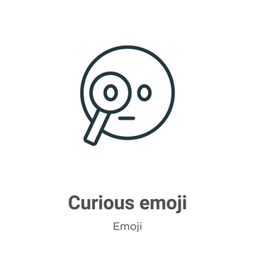 Curious emoji outline vector icon. Thin line black curious emoji icon, flat vector simple element illustration from editable emoji concept isolated on white background