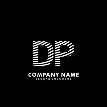 Initial letter DP zebra style wood texture template logo