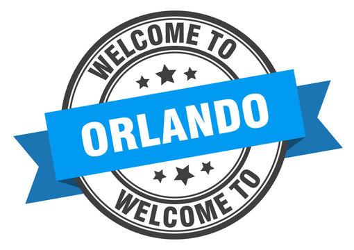 Orlando stamp. welcome to Orlando blue sign
