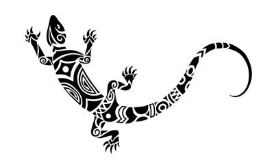 Lizard Maori style. Tattoo sketch or logo