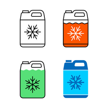 Car coolant canister icon. Motor antifreeze jerrycan symbol. Adjustable stroke width.