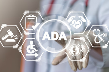 ADA Americans with Disabilities Act Medical Concept. Invalid health social security.