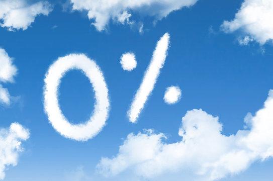 Clouds zero percent discount symbol in the blue sky.