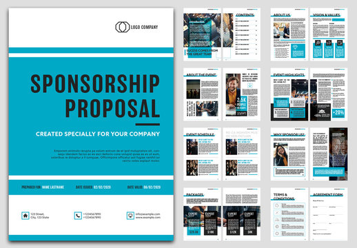 Sponsorship Proposal Layout with Blue Accents