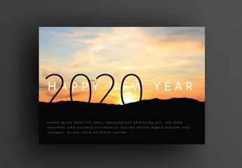 Happy New Year's Card Layout with Sunrise Image