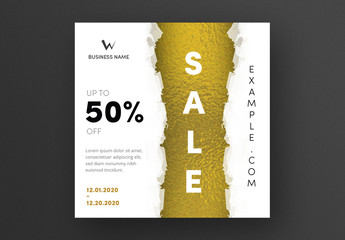 Sale Card Layout with Gold Foil Accent