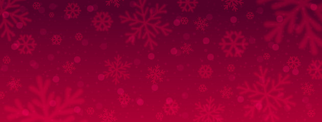Wall Mural - Red christmas banner with blurred snowflakes. Merry Christmas and Happy New Year greeting banner. Horizontal new year background, headers, posters, cards, website. Vector illustration
