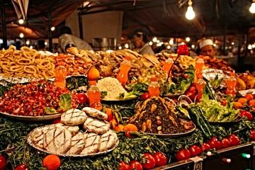 Marrakech, Morocco »; Spring 2017: A market stall in Marrakech