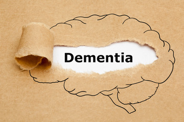 Word Dementia Torn Brown Paper Concept Wall mural