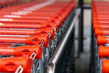shopping carts in supermarket