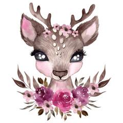 Ilustracja zimowy jeleń z eleganckimi kwiatami i liśćmi