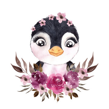 Cute winter penguin withelegant flowers and leaves watercolor hand draw illustration isolated on white background