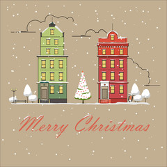Christmas city snow-covered landscape. Vector illustration. New year greeting card. City buildings in the snow.0