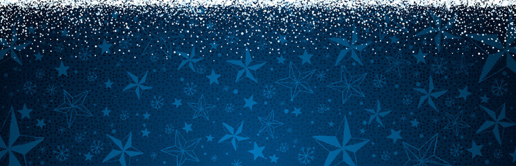 Wall Mural - Blue christmas banner with snowflakes. Merry Christmas and Happy New Year greeting banner. Horizontal new year background, headers, posters, cards, website.