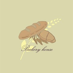 Vector drawing of bakery products drawn by hand.Cartoon image of baking and wheat ears drawn with chalk on the Board.Emblem in the form of illustrations for signs bakery with a place for the name.14_0