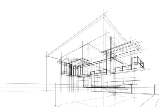 house building sketch architecture 3d illustration